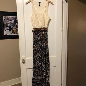 Lace & Aztec Print Maxi Dress
